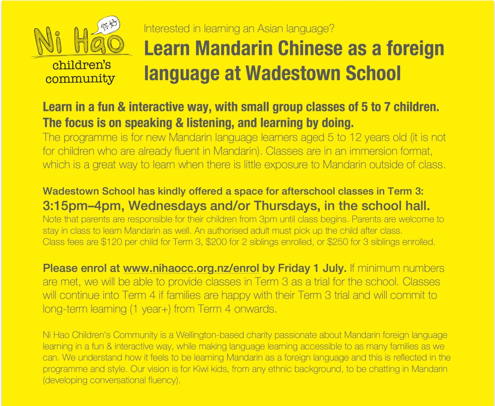 Newsletter insert for Wadestown School