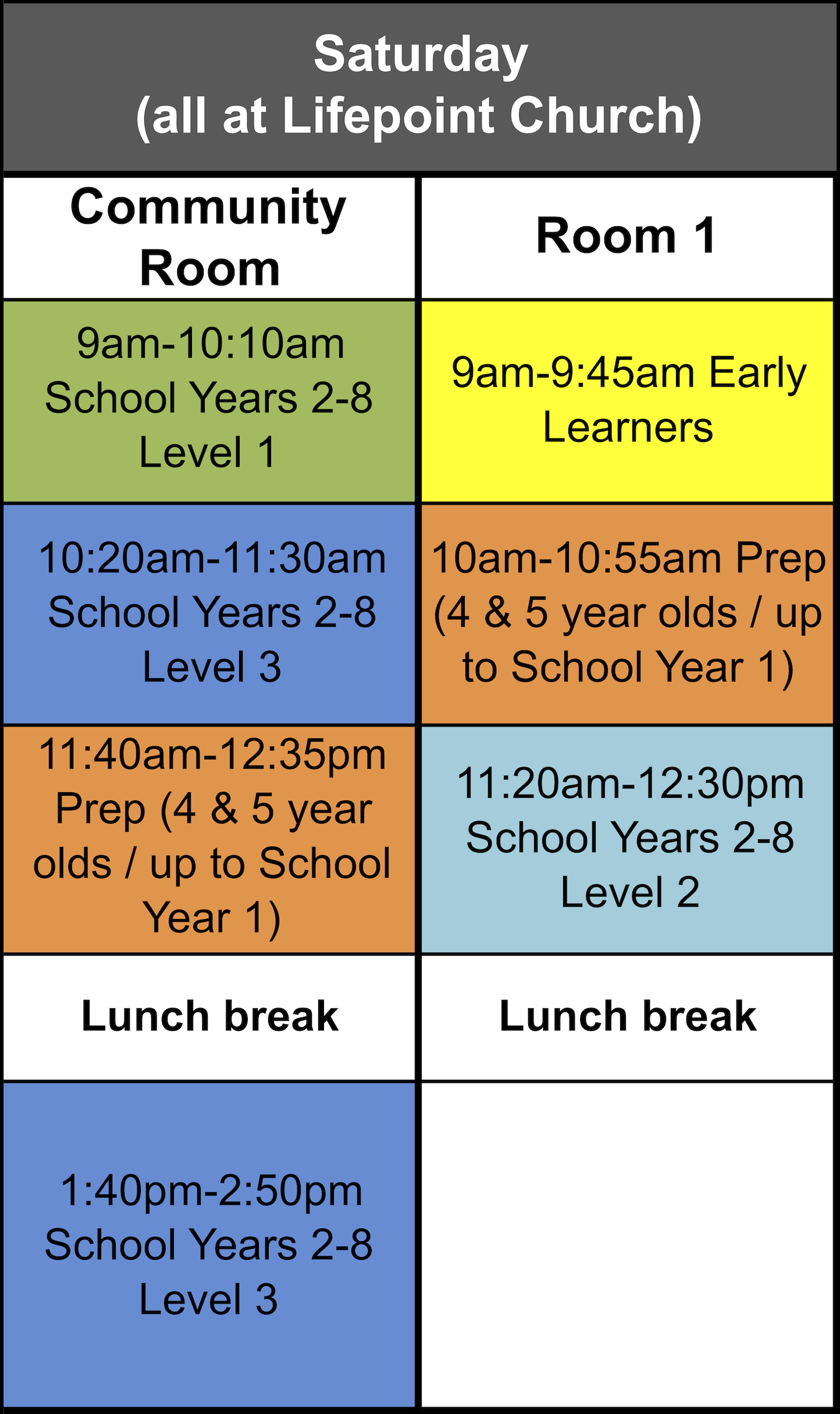 Saturday schedule for Term 3